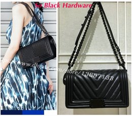Wholesale V Phone - Classic Women's Black Lambskin Boy Flap Bag So Black Hardware Handbag 67086 Genuine Leather V Quilted Chevron Boy Chain Shoulder Bags