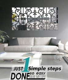 Wholesale best living room designs - DIY 4lot Set 3D Home Decoration Acrylic Mirror Wall Stickers Modern Design Living Room Home Decor Sticker Best Mirror Effect