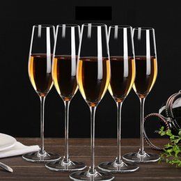 Wholesale Unique Holiday Decorations - 210ml Flute Champagne Cup KTV Bar Dedicated Party Wedding Red Wine Glass Unique Crystal Transparent Cup Drink Beer