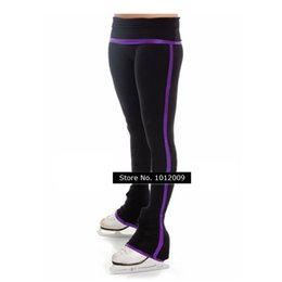 Wholesale Girls Figure Skating - Wholesale-customized clothes figure skating pants rhythmic gymnastics trousers stripe adult girl show clothing performance purple