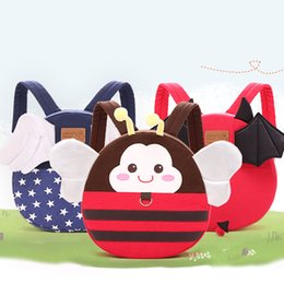 Wholesale Canvas Straps For Bags - Childhood Shoulder Bag 3D Cartoon Prints Canvas Material Backpack With straps Anti-lost School bag For 1 to 1.3 m children