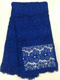Wholesale Lace Fabric Swiss - Free Shipping high quality swiss voile lace Dubai dry cotton African lace fabrics Royalblue color mesh textile material