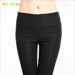 Wholesale Tall Length Leggings - Wholesale- AOZUZLASpring leggings After the big yards of tall waist pocket Pencil pants Recreational nine points feet pants DD031