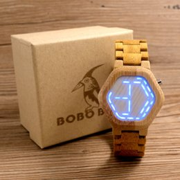 Wholesale Unique Night - 2018 BOBO Bird Digital Bamboo Watch Night Vision Watch Cold LED display clock with unique LED date day