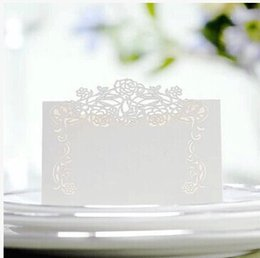 Wholesale wedding invite cards free - Wholesale- Free Shipping 10X Pieces White Vintage Flower Laser Cut Paper Crafts Desk card place card Wedding Invites Favor Decoration