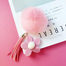 Llavero llavero Plush Girasoles Lazy Rabbit Hair Ball caja del teléfono celular de Apple bricolaje cadena clave material paquete accesorios borla nueva SS0009 desde fabricantes