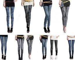 Wholesale Wholesale Explosion Leggings - 2016 Fashion Explosion models Women Sexy Big yards thick warm brushed ultra elastic seamless printing Denim Leggings pencil feet Pants 50