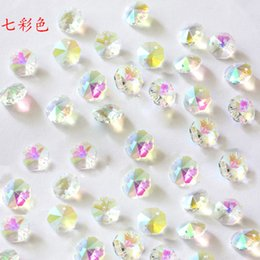 Wholesale Clear Glass Crystal Garland - Free Shipping 2000pcs lot 14mm AB Clear Crystal Glass Octagon Chandelier Beads For Beads Garland Strands DIY Glass Beads Curtain