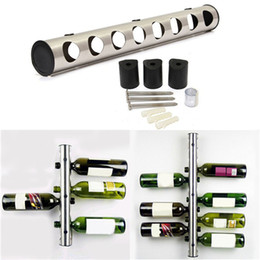 Wholesale Wine Bottle Display Stand - 1 Set Creative 8 12 Holes Wine Rack Holders Home Bar Wall Grape Wine Bottle Display Stand Rack Suspension Storage Organizer