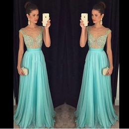Wholesale Mint Prom Dressed - Sheer Mint Crystal A Line Long Chiffon Prom Dresses 2016 Sexy Beads Cap Sleeves Party Gowns With Illusion V Neck Formal Evening Gowns