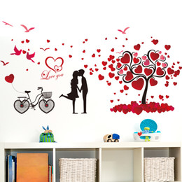 Wholesale Tree Couple Art - 60*90cm Wall Stickers DIY Art Decal Removeable Wallpaper Mural Sticker XL8151 Romantic Couples Lover Heart Tree
