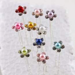 Wholesale Crystal Hair Stick Mix - Cheap Bridal U Bob Hair Sticks Accessory Clip Pins 2016 Crystal Pearls Up-do Sequins Flower 2016 Free Shipping Mixed Colors