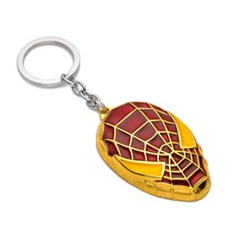 Wholesale Marvel Comics Spider - Super Hero The Avengers Spider Man Film series Alloy Keychains Marvel Comics Hero Key ring comic figure pendant chaveiro llavero Souvenirs