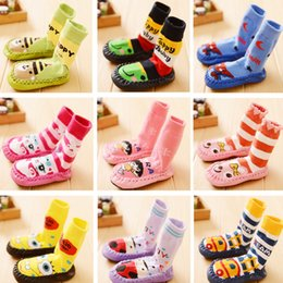 Wholesale Baby Socks Shoes Rubber Sole - Toddle Boy Girl autumn Socks Anti Slip Baby Cartoon Animal Shoes Slippers Boots Winter Soft Rubber Soled Outdoor Indoor Shoes