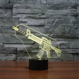 Wholesale Ak47 Lamp - Hot 3D Acrylic Colorful USB Nightlight Creative Children's AK47 Sniper Rifle Christmas Gift LED Table Lamp-167
