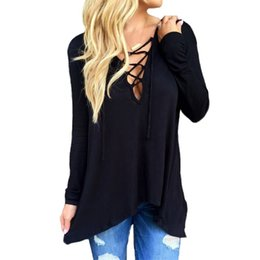 Wholesale T Shirt Hoodies For Women - T Shirt For Women 2016 Fashion Spring Autumn Long Sleeve V Neck Bandage Shirts Casual Hoodie Sexy Women T Shirt Camisetas Women Clothing