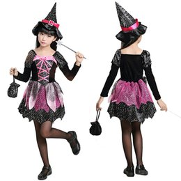 Wholesale Beauty Clothing - New Halloween Costumes for Children Kids Costume Girls Witch Cosplay Costume Black Dress Clothing +Hat LX3656
