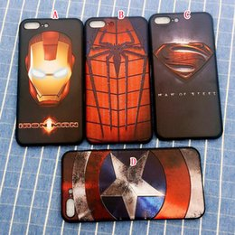 Wholesale Superman Phone Covers - Superman Iron man Steel TPU Soft Case For Iphone 7 Plus I7 Iphone7 6 6S Batman Cartoon Spiderman Captain American Phone Skin Cover 100pcs