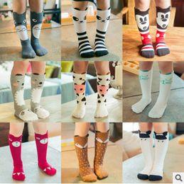 Wholesale Girls Chevron Cotton - New socks baby cotton fox socks girls knee high stockings baby star footwear leggings socks baby chevron leg warmers Free Ship