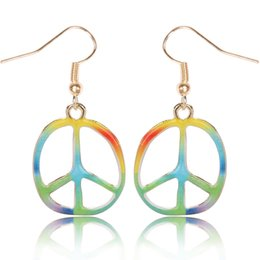 Wholesale Dangle Peace - 2016 Earrings for women Popular drip peace sign earrings personality colorful alloy drop earrings free shipping