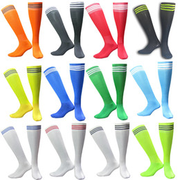 Wholesale Dance Jogging - wholesale Summer three stripes football soccer Skiing thin soles long team men adult dancing Gym Pink Gray socks