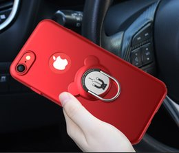 Wholesale Cheap Plastic Red Roses - High quality cheap price AIQAA Solid Color Metal Paint Plastic PC Dropproof Protective case with Bear Ring Holder For iPhone