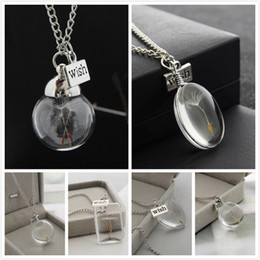 Wholesale Silver Glass Dome Pendant - Real Dandelion Seed in a Wish teardrop Jewellery Silver Necklace pendant Make a Wish Necklace Glass Dome Dandelion Flower Charm Jewelry
