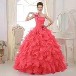 Wholesale One Shoulder 15 Dresses - Custom Made One Shoulder Flower Ball Gown Quinceanera Dresses Coral Beaded Ruffles Organza Sweet 16 Dresses 15 Years Gowns Debutante Dress