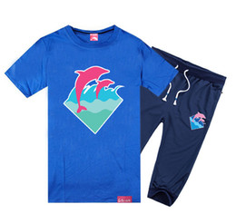 Wholesale Green Printing Services - Pink dolphin short-sleeved pant suit men's cotton short sleeved T-shirt Korean fashion men's music Headset wholesale class service