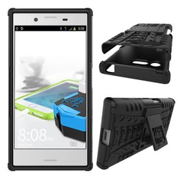Wholesale Xperia Z Back Cases - Play Kickstand Armor Dual Color Back Cover Rugged Hybrid Case Shockproof Hard PC+Soft TPU Dual Skin For Sony Xperia XZ,X compact,For Moto Z