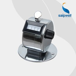 Wholesale Hand Tally Manual Counters - Wholesale- Saipwell 4 Digits Metal Casing Silver color and base Hand Tally manual sport counter mechanical totalizer visitor counter YB-04B