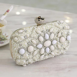 Wholesale Diamond Evening Bag - 2016 Newest Luxury Mini Bags Crystals Beads Bridal Wedding Evening Bag One Shoulder Brides Wallets Handbags Clutches Purse