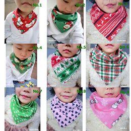 Wholesale Toddler Girls Scarves - New Arrival Baby Girl Baby Burp Bandana Bibs Toddler Triangle Scarf BibInfant Saliva Towel Merry Christmas Baby Bibs Xmas Bib