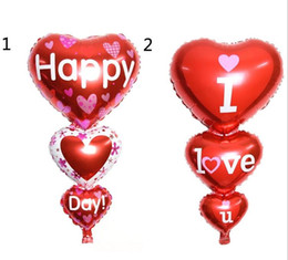 Wholesale Party Decorations Engagement - 2 Sizes Baloon Big I Love You ang Happy Day Balloons Party Decoration Heart Engagement Anniversary Weddings Valentine Balloons G924