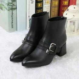 Wholesale Rainboots Sale - sale! free ship! u632 40 black burgundy belt med heel pointy short boots luxury runway autumn sexy work p designer brand think heel