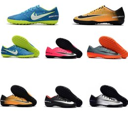 Wholesale Girls Kids Football - 2018 Top Unisex Original Low Mercurical Victory SX Neymar TF Children Soccer Cleat CR7 Kids Indoor Soccer Shoes Boys Girl football boots