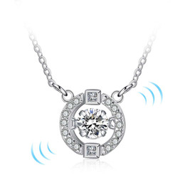 Wholesale Pendent Stones - fashion round pendent necklaces 925 sterling silver cz stone necklace jewelry dancing diamonds love pendent necklace