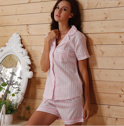 Wholesale Xs Pajama Set - Wholesale-2016 new arrival summer autumn women pajama sets pink and white stripped brief top quality European and American style pyjamas