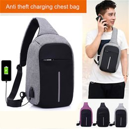 Wholesale Small Sport Pack - Anti Theft Small Chest Pack USB Charge Canvas Travel Sport Sling Bag