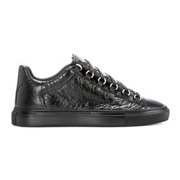 Wholesale Arena Sizes - Free shipping Wholesale-new genuine leather men casual shoes arena Bal*nci*ga 5 colors low top shoes size 38-47