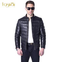 Wholesale White Leather Coats For Men - Wholesale- Factory Men Duck Down Leather Jacket Genuine Sheepskin Leather Coat For Men Black Orange Short Men's Leather Coat Winter ZH062