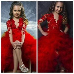 Wholesale Taffeta Puffy Wedding Dress - 2017 O-Neck Sheer Long Sleeves Red Ball Gown Flower Girls Dresses Puffy Tulle Front Split Kids Child Pageant Party Gowns Lace Appliques