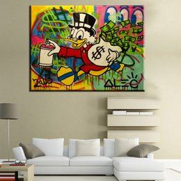 Wholesale Poster Prints - ZZ253 canvas oil painting Alec monopoly Duck funny art poster Canvas painting Living Room decoration Street art Richie