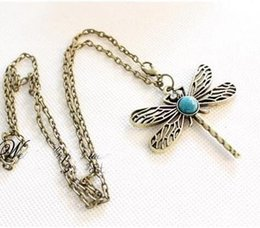 Wholesale Dragonfly Hollow - Hollow dragonfly necklace Turquoise Retro Dragonfly Design Hollow carved Dragonfly Sapphire Diamond for women Sweater Necklace