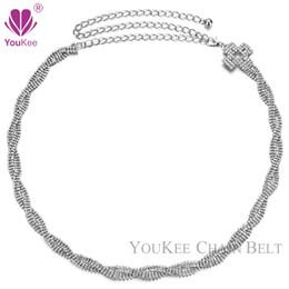 Wholesale Handmade Belts For Dresses - 2016 Fashion Silver Metal Plate Mosaic bling Rhinestone Cross Adjustable Waist Belly Chain Belts For Women Dress Handmade BL-815
