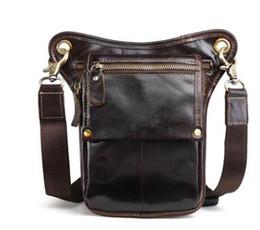 Wholesale Leather Leg Bags - Hot Sale Top Quality Genuine Real Leather Cowhide men vintage Messenger Bag Waist Pack Leg Bag