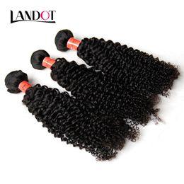 Wholesale Black Hair Extensions Kinky Curly - Brazilian Kinky Curly Hair Unprocessed Brazillian Human Hair Weaving 3 Bundles Lot 8A Grade Deep Jerry Curly Hair Extensions Natural Black