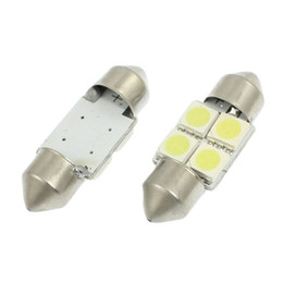 Wholesale Car Roof Interior Light Led - 100x Festoon Dome Map Interior LED Light Bulbs Car Roof Lamp 31MM 5050 4SMD White