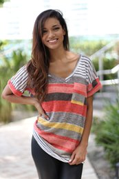 Wholesale Plaid Suit Jacket Women - Sell Through 2016 Spring Summer New Pattern Suit-dress Pocket Printing Stripe Short Sleeve T Pity Jacket Irregular