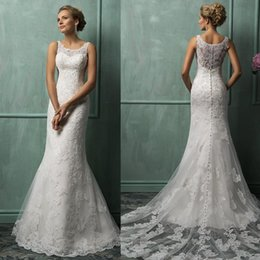 Wholesale Magnetic Trains - 2016 Lace Mermaid Wedding Dresses Cheap Lace Wedding Gowns 2016 Scoop Lace Applique Hollow Magnetic Covered Button 7203